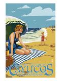 Cayucos  California - Woman on Beach