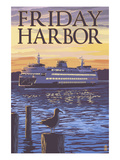 Friday Harbor  Washington - Ferry Sunset and Gull