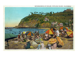 Santa Catalina Island  California - Crowded Beach Scene