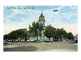 Valparaiso  Indiana - Airplane over Court House Square Building