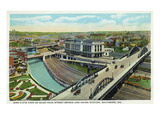 Baltimore  Maryland - Aerial View of St Paul Street Bridge and Union Station