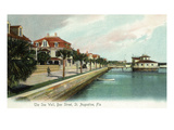 St Augustine  Florida - Bay Street View of the Sea Wall