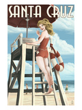 Lifeguard Pinup Girl - Santa Cruz  California