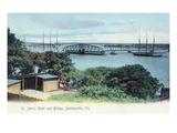 Jacksonville  Florida - View of St John's River and Bridge