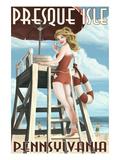 Presque Isle  Pennsylvania - Pinup Girl Lifeguard
