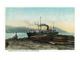 Port Orford  Oregon - Logging Ship Loading Cedar Logs for Japan