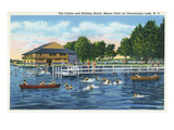 Chautauqua Lake  New York - Bemus Point  View of Casino and Beach
