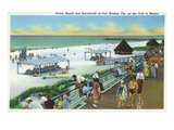 Fort Walton  Florida - View of Beach  Boardwalk  Gulf of Mexico