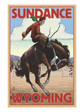 Cowboy and Bronco Scene - Sundance  Wyoming