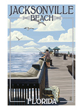 Jacksonville Beach  Florida - Fishing Pier Scene