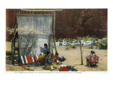 Canyon De Chelly  Arizona - View of Navajo Women Weaving Rug