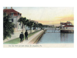 St Augustine  Florida - View of the Sea Wall and Bath House