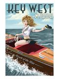 Key West  Florida - Boating Pinup Girl