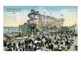 Long Beach  California - View of Amusement Rides Along the Pike