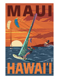 Maui  Hawaii - Windsurfers Scene at Sunset