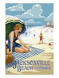 Jacksonville  Florida - Woman and Beach Scene