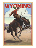 Cowboy and Bronco Scene - Wyoming
