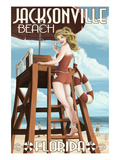 Jacksonville Beach  Florida - Lifeguard Pinup Girl