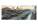 Old Orchard Beach  Maine - Crowds and Parked Cars Near Pier Scene