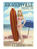 Jacksonville Beach  Florida - Surfer Pinup Girl