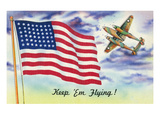 WWII Promotion - Keep 'em Flying  US Flag and Bomber