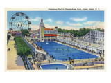 Coney Island  New York - Steeplechase Park Swimming Pool View