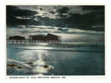 Old Orchard Beach  Maine - Moonlight Scene