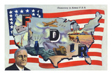 WWII Promotion - Democracy in Action  FDR by US Flag