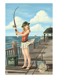 Pinup Girl Fishing on Ocean
