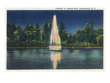 Schenectady  New York - Central Park Fountain at Night