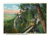 Lookout Mountain  Tennessee - View of a Trolley Riding on the Mountain