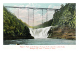 Portage  New York - Letchworth Park  View of Upper Falls and the Bridge