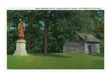 Letchworth State Park  New York - View of the Mary Jemison Statue  Indian Council House
