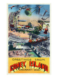 Cincinnati  Ohio - Coney Island Amusement Park Greetings