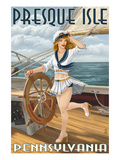 Presque Isle  Pennsylvania - Pinup Girl Sailing