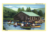 Allegany State Park  New York - View of Tourists Canoeing by the Boat House