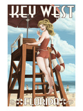Key West  Florida - Lifeguard Pinup Girl