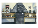 Hyde Park  New York - Interior View of Roosevelt Library  Caricature Sphinx