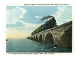 Key West  Florida - Long Key Viaduct Train Crossing Scene
