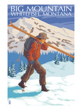 Skier Carrying - Whitefish  Montana - Snowboarder Jumping