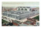 New York City  New York - Aerial View of Pennsylvania Railroad Depot