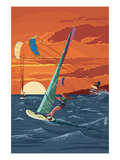Windsurfers and Sunset