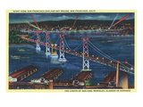 San Francisco  California - Aerial View of Bay Bridge at Night