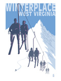 Winterplace  West Virginia - Skiers on Lift