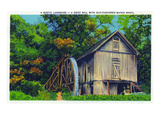 North Carolina - View of a Grist Mill with an Old-Fashioned Water Wheel