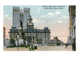 Detroit  Michigan - Cadillac Square  View of Soldier's Monument and Exterior View of City Hall
