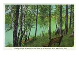 Rhinelander  Wisconsin - Wisconsin River Banks Scene