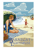 Barnegat Light  New Jersey - Beach Scene
