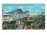 Long Beach  California - View of Roller Coaster and Silver Spray Pier