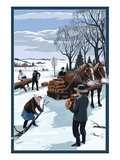 Amish Gathering Firewood Winter Scene